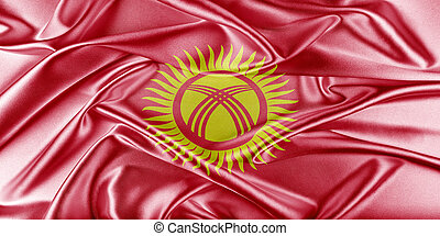 Kyrgyzstan Flag Flag with a beautiful glossy silk texture