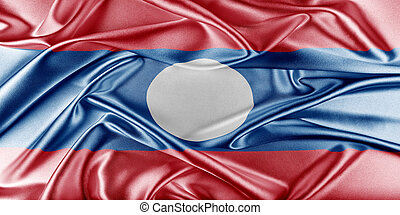 Laos Flag Flag with a beautiful glossy silk texture