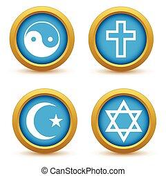 Religious symbols icon set - Round colored icon set with...