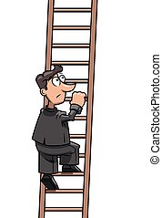 Long way up to success - Illustration of the businessman at...