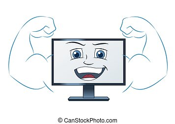 Smiling powerful computer - Illustration of the smiling...