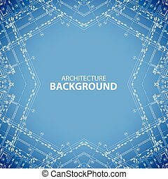Architecture kaleidoscopic blueprint background - Vector...