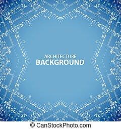 Architecture kaleidoscopic blueprint background - Vector...