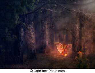 Forest Fairy - Illustration of a 3d fairy girl in a magical...
