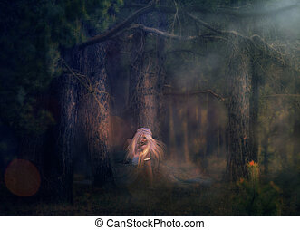 Forest Nymph - Illustration of 3d rendered woman with long...