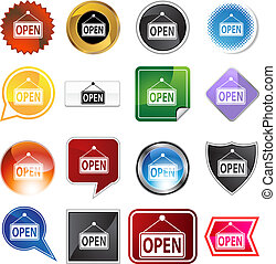 Open Sign Icon Set - Open sign icon set isolated on a white...