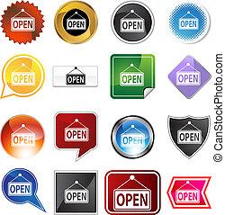 Open Sign Icon Set