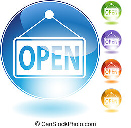 Open Sign Crystal Icon
