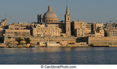 The view on Valletta in sunset, Sliema, Malta