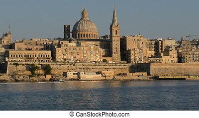 The view on Valletta in sunset, Sliema, Malta