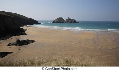 Holywell Bay North Cornwall coast E - Carters rocks Holywell...