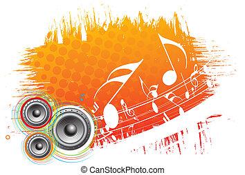 music theme - 3d speaker on grunge retro wave lien...