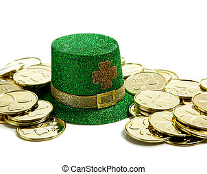 St. Patricks Day Decoration with Gold coins and a hat - A...