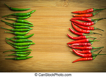 Green chilli pepper on Left side and Red chilli pepper on...