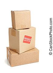 Um, papelão, em movimento, caixa, frágil,...