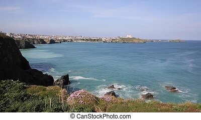 Newquay North Cornwall UK coast - Newquay coast North...