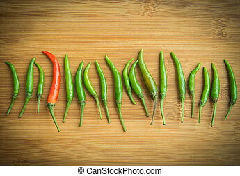 A red chilli pepper in Green chilli pepper on chopping block...