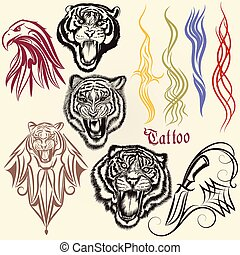 Set of vector hand drawn tattoo with animals and...