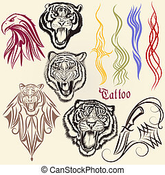 Set of vector hand drawn tattoo with animals and ornaments