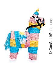 rosa, azul, amarillo, burro, piñata, blanco