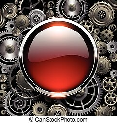 Background - Red glossy button on gears background, vector...