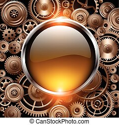 Background - Golden glossy button on gears background,...