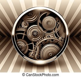 Background 3d, button with machinery gears inside, vector...