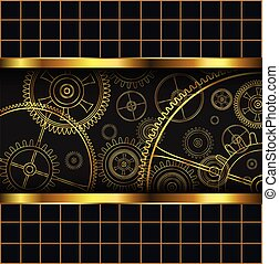 Abstract background with technology machine gears gold,...