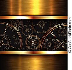 Abstract background metallic gold with gears, vector...
