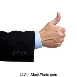 Business man\'s hand with a thumbs up
