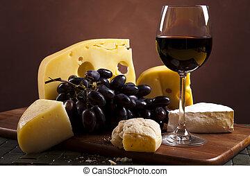 queijo, e, vermelho, vinho, saturado, ambiente, rural, tema,...