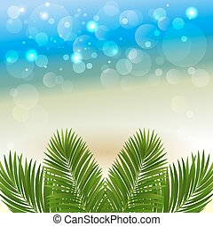 beach - Summer abstract background with palm leaves. Vector...