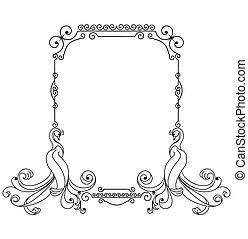 Frame with fairy bird and swirls