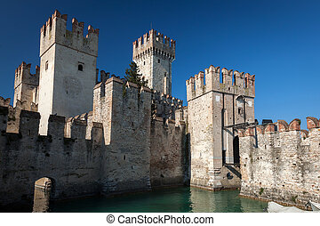 Scaliger Castle in Sirmione, Italy - Scaliger Castle built...