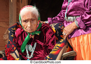 Navajo Woman in Traditional Clothing - Elderly Navajo Woman...