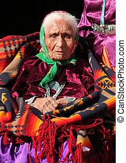 Elderly Navajo Portrait of a 99 Year Old Woman Wearing Turquoise Jewelry