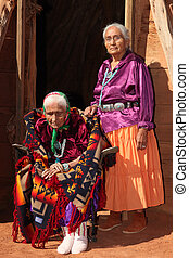 Old Navajo Woman and Her Daughter - Elderly 99 year Old...