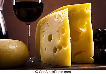 Still-life with cheese and wine