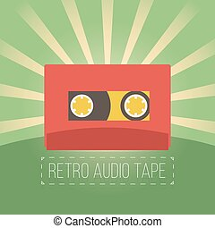 Retro audio tapes in flat style