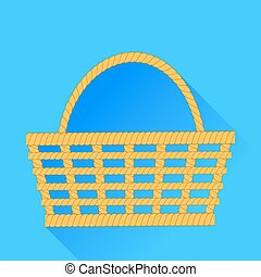 Wicker Backet Isolated on Blue Background. Long Shadow.