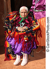Navajo Elder in Bright Traditional Clothing - Old Navajo...