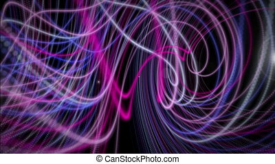 Futuristic video animation with particle stripe object and...