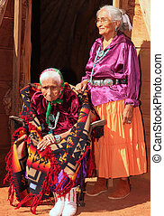 Old Navajo Woman and Her Daughter - Elderly 99 year...