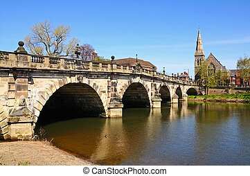 The English Bridge, Shrewsbury. - The English Bridge across...