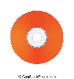 Orange Compact Disc Isolated on White Background