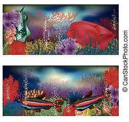 Underwater banners with red fish - Underwater banners with...