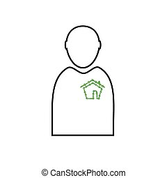 man with eco house vector