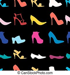 pattern of womens shoes - Seamless graphic design of various...