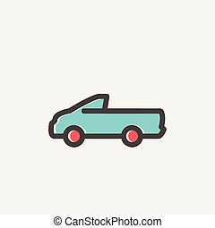 Pick-up truck thin line icon - Pick-up truck icon thin line...