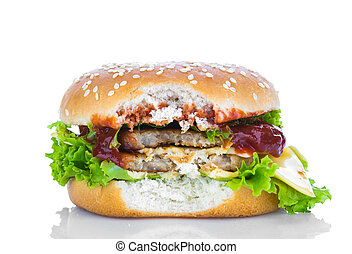 Bitten hamburger on white background